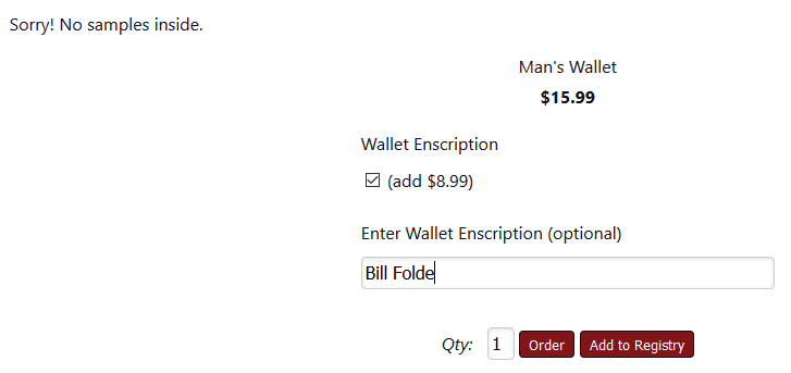 Optional text with additional pricing